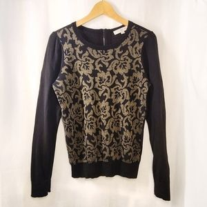 LOFT Jacquard Front Long Sleeve Sweater